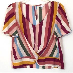 Love Fire Stripe Fluttery Sleeve Top